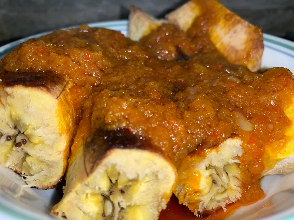 Bole (Roasted Plantain) and Fish